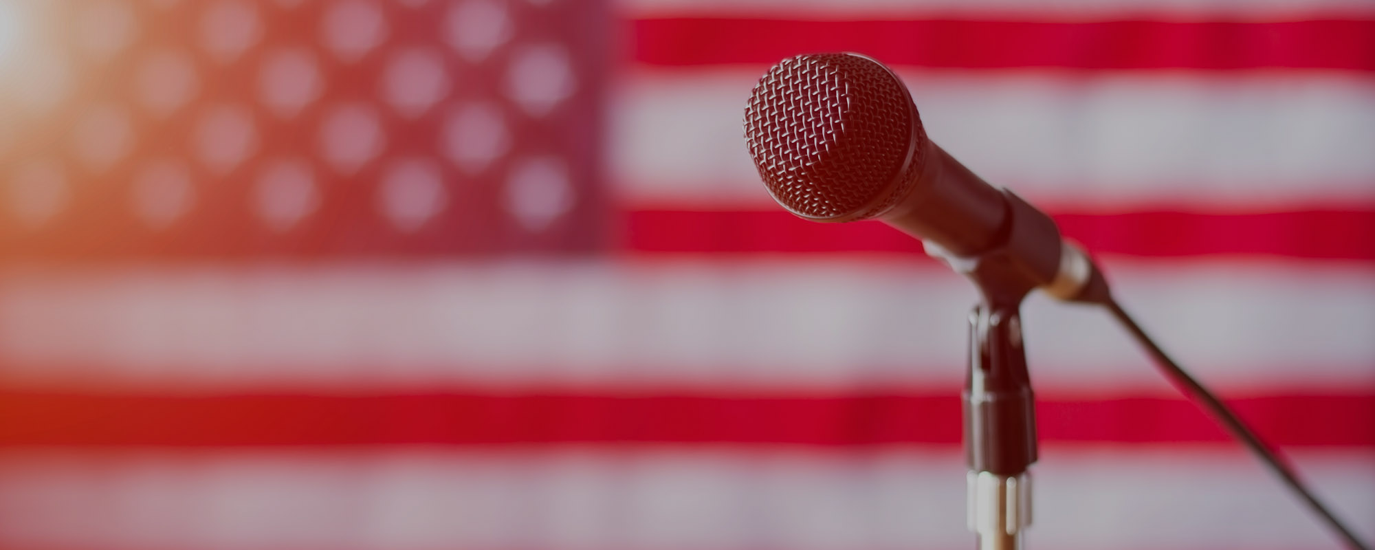 Microphone on US flag background.