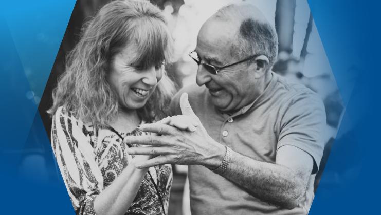 Couple dancing into retirement